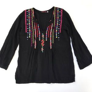 Johnny Was Embroidered Blouse Black Size XS
